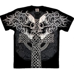 Facing Skulls and Cross T-shirt