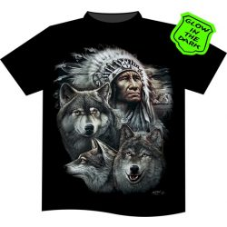 Indian with Wolves T-shirt